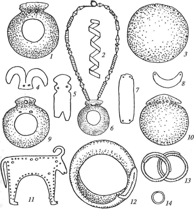 Золотые украшения Варненского некрополя: 1-5, 7-11 — детали костюма; 6 — ожерелье; 12— браслет; 13-14— височные кольца