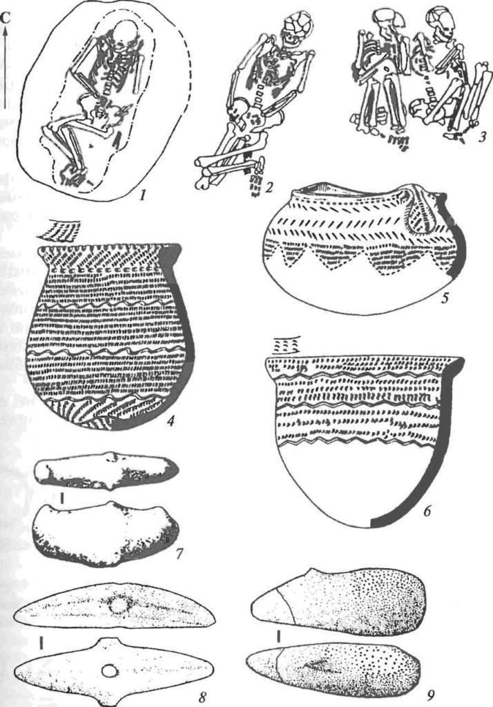 Первый Хвалынский могильник: 1-3 — погребения; 4-6 — сосуды; 7-9 — скипетры