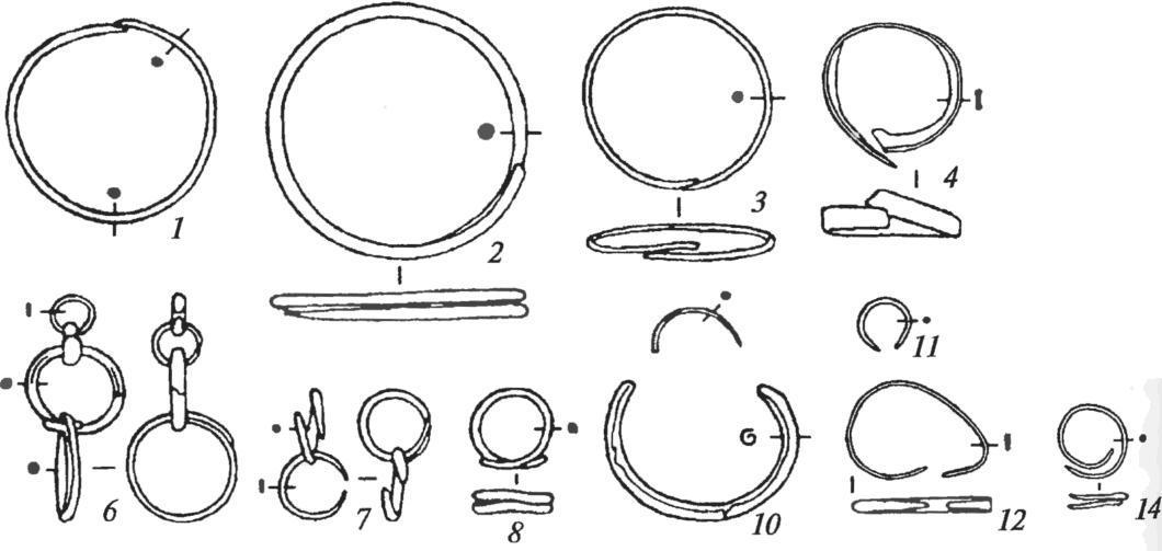 Медные украшения Хвалынских I (2-9, 11-14) и II (1, 10) могильников.