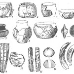 Комплекс Кюль-тепе I близ Нахичевани (энеолит Закавказья): 1-7 — сосуды (5 — с росписью); 8— модель колеса; 9— нуклеус; 10— скребок; 11 - пластина; 12 — пряслице; 13, 14 — костяные изделия