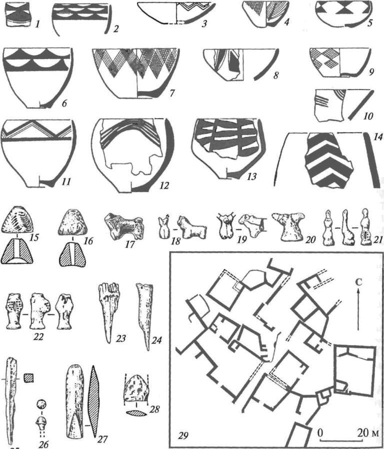 Комплекс Дашлыджи-депе (энеолит однокомнатных домов): 1-14— сосуды; 15, 16— терракотовые пряслица; 17-22— глиняные статуэтки; 23, 24— костяные проколки; 25-28 — металлические изделия; 29 — план поселения