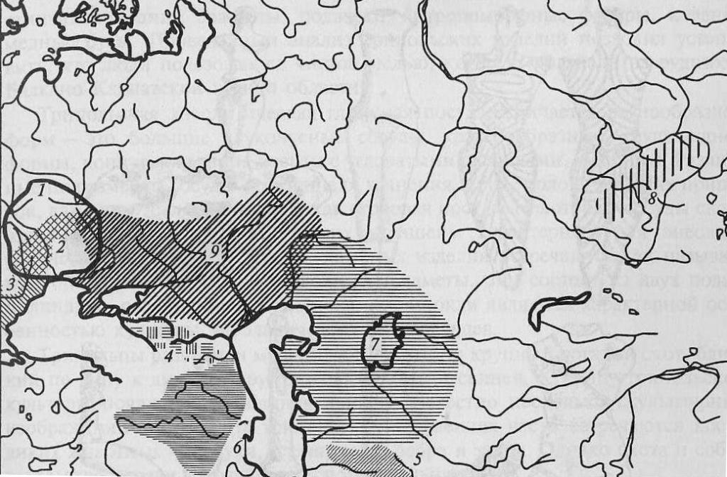 Энеолит Евразии: 1 - культура триполье-кукутени; 2 - раннетрипольская культура; 3 - гумельница; 4 - майкопская культура; 5 - анау; 6 - куро-аракская культура; 7 - энеолит Приаралья и Южного Урала; 8 - афанасьевско-окуневская область, 9 - древнеямная