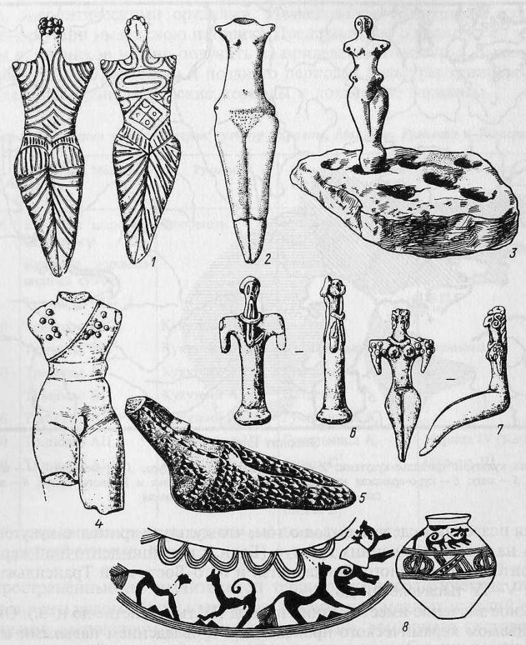 Пластика и рисунок энеолитических культур: 1-4 - триполье, кукутени; 5-7 - анау; 8 - рисунок на трипольском сосуде