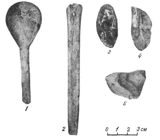 Рис. 3. 1 — костяная ложка; 2 — костяное острие; 3 — вкладыш ; 4 — нож резец; 5 — скребок