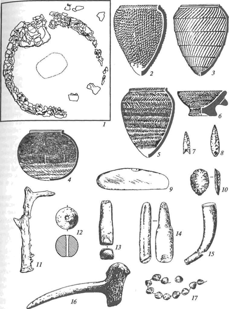Афанасьевская культура: 1 — план ограды и могильных ям; 2-5 — керамика; 6 — курильница; 7, 8 — каменные наконечники стрел; 9— курант; 10— скребок; 11— орудие из рога косули; 12— мраморный шар; 13 — каменный пест; 14 — колотушка; 15, 16 — рожок и рукоятка топора из рога марала; 17 — бусы из раковин