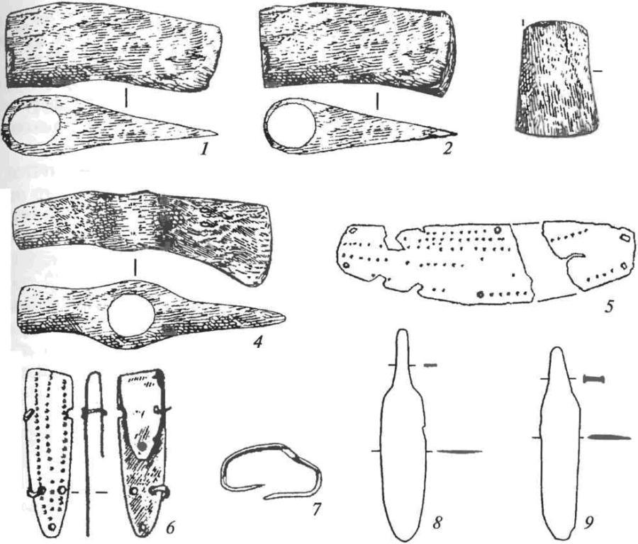 Медные изделия афанасьевской культуры: 1, 2, — топоры; 3 — тесло; 4— топор-молоток; 5, 6 — оковки деревянных сосудов; 7 — скоба; 8, 9 — ножи