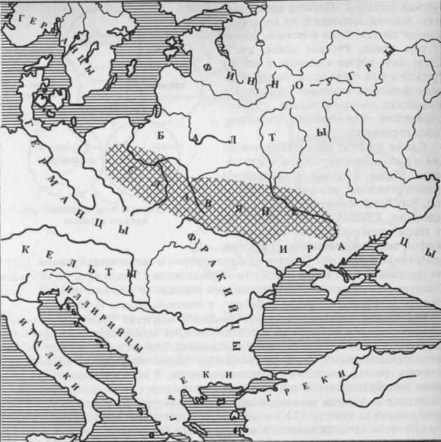 Славяне и их соседи в первые века н. э. (по В. В. Седову)