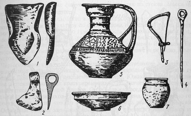 Предметы черняховской культуры: 1 - сошник; 2 - крючок; 3 - булавка; 4 - проколка; 5-7 - керамические сосуды