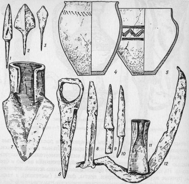 Роменская культура: 1-3 - наконечники стрел; 4-5 - керамические сосуды; 6 - топор; 7 - наральник (сошник); 8-10 - ножи; 11 - тесло; 12 - серп (по В. В. Седову)