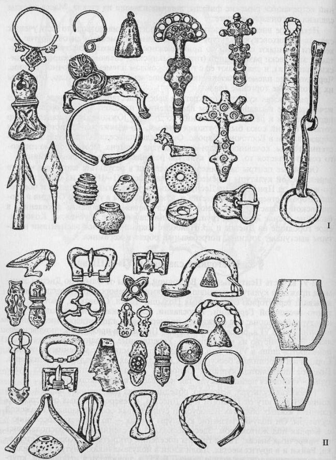 Археологические предметы из восточнославянских памятников I тыс. н. э.: I - пражско-пенькоского типа; II - пражско-корчажского типа (по В. В. Седову)