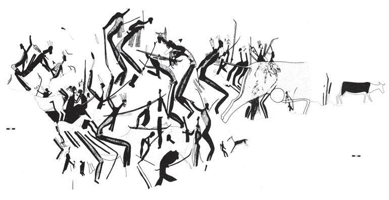 Рис. 17.2. Пещерное искусство племени сэн. Пляшущие в трансе шаманы. Их вытянутые тела передают состояние растянутости, испытываемое людьми в состоянии искаженного сознания. Точки вдоль позвоночника центральной фигуры изображают то, что современные сэн описывают как «кипение» — ощущение, как неестественная сила поднимается по позвоночнику и «взрывается» в голове. Такая сила происходит от определенных животных, например от антилопы канна, изображенной справа