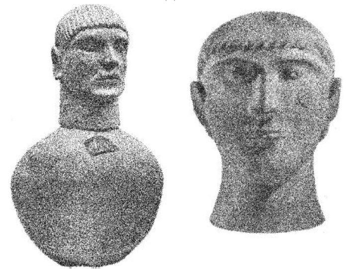 Рис. 33-34. Этрусские погребальные урны VII-VI вв. до н. э. в виде человеческой головы.