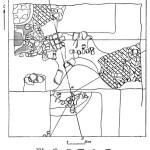 """Рис. 52а. План раскопа """"Керамик"""" в юго-восточной части городища Фанагории. Остатки сооружения: 1 — вымостка 2 — вола; 3 — камня; 4 — глина; 5 — черепки; — сырец."""