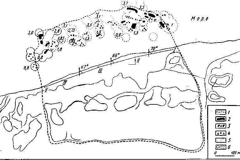 Рис. 55. Схематический план Фанагории. 1 — граница города; 2 — гряды камней; 3 — группы камней; 4 — керамика; 5 — участки погружений и глубины; 6 — очертание холмов.