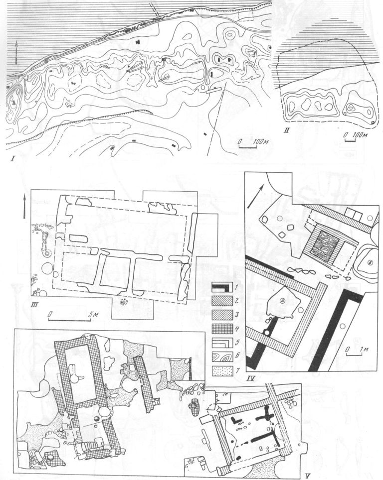 Таблица XXXVIII. Фанагория I — схематический план городища с местоположением раскопок; II — восстанавливаемые границы Фанагории; III — план юго-западного раскопа; IV — план раскопа Верхний город; V — план Центрального раскопа: 1 — архитектурные остатки, вторая половина VI в. до н. э.; 2 — первая половина V в. до н. э.; 3 — вторая половина V—IV вв. до н. э.; 4 — II—III вв. н. э.; 5 — IV в. н. э.; 6 — дерево; 7 — вымостка; А, Б — землянки конца VI в. до н. э. Составители Е. А, Савостина и В. С. Долгоруков