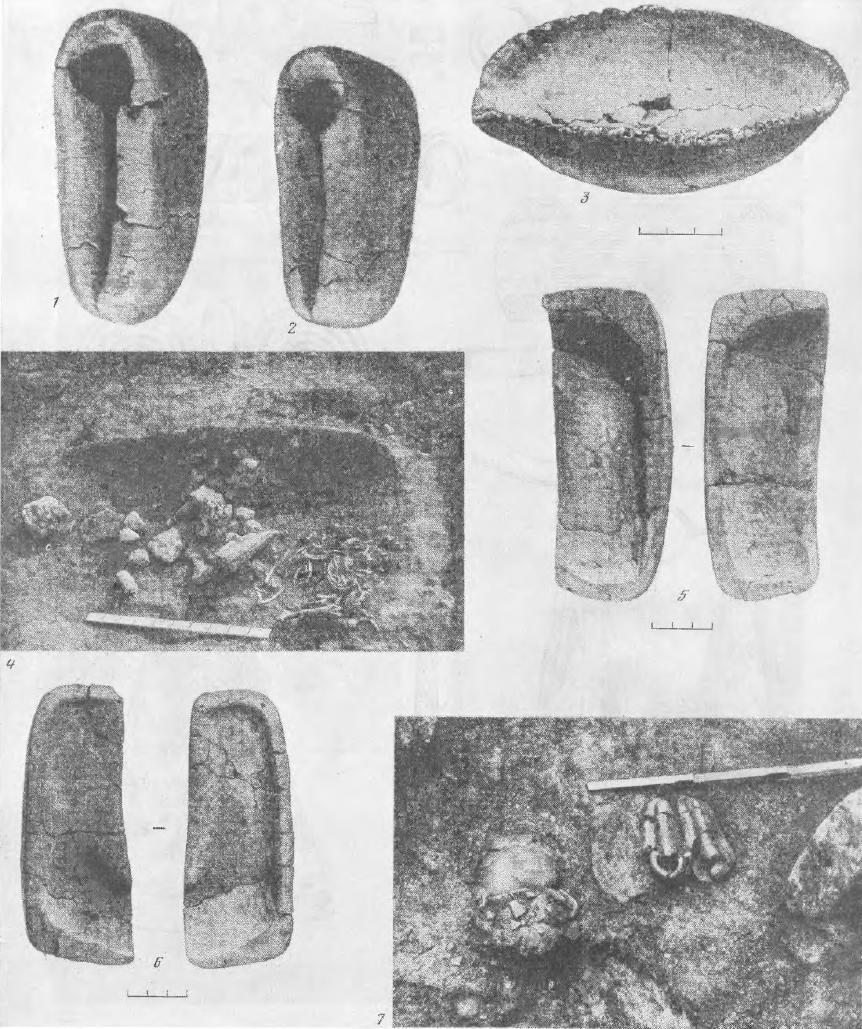 Рис. 34. Вещи из погребений металлурга   *>• --.Ч>ХЛ• 1, 2— литейные глиняные формы; 3— тигль глиняный; 5, 6 — развертка литейных глиняных форм; 4, 7 — вид погребения металлурга(Волосово-Даниловский могильник, погре