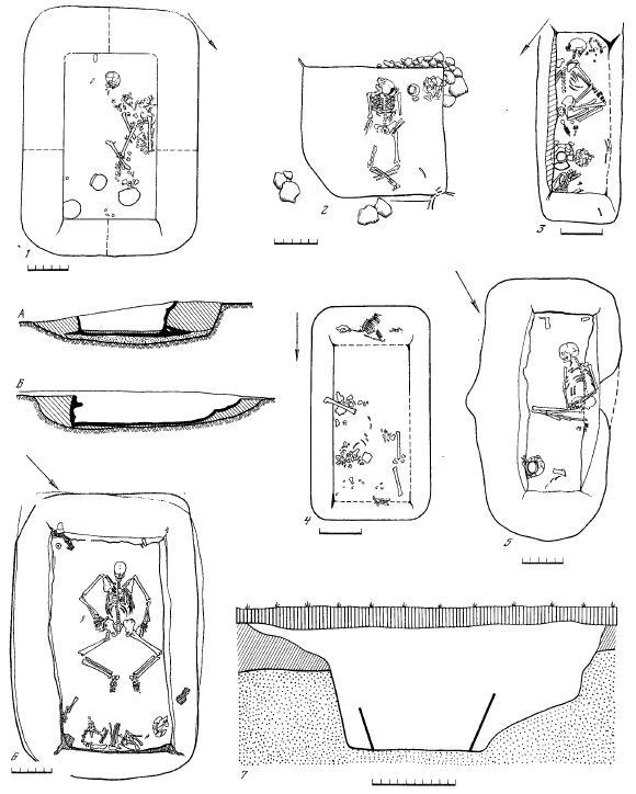 Рис. 24. Виды погребений и погребальных сооружений фатьяновской культуры 1 — Волосово-Даниловский могильник, погребение 40; А, Б — профили погребального сооружения; 2 — Халдеевский могильник, погребение мужчины 1; 3 — Тимофеевский могильник, погребение женщины 14; 4 — Волосово-Даниловский могильник, погребение с собакой 85; 5 — Тимофеевский могильник, погребение мужчины 3;б — Ханевский могильник,погребение мужчины на спине 6; 7— Тимофеевский могильник, поперечный разрез могильной ямы и погребального сооружения