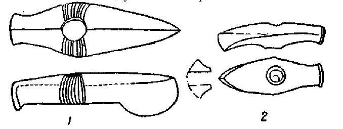 Рис. 79. 1 — боевой топор фатьяновской культуры и 2 - финский ладьевидный топор.
