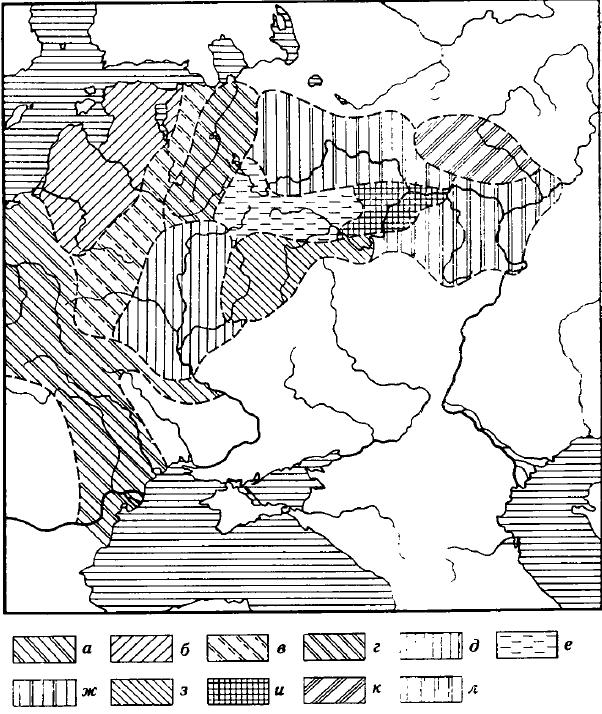 Карта 7. Предполагаемые зоны распространения групге фатьяновской культуры а — культуры шаровидных амфор и шнуровой керамики; б — культуры ладьевидных топоров Прибалтики; в — неисследованная зона; г — двинско-ильменская группа; д — среднеднепровская культура; е — московско-клязьминская группа; ж — верхневолжская группа; з — окско-деснинская группа; и — нижнеокская группа; к — вятско-ветлужская группа;. л — балановская группа (средневолжская)