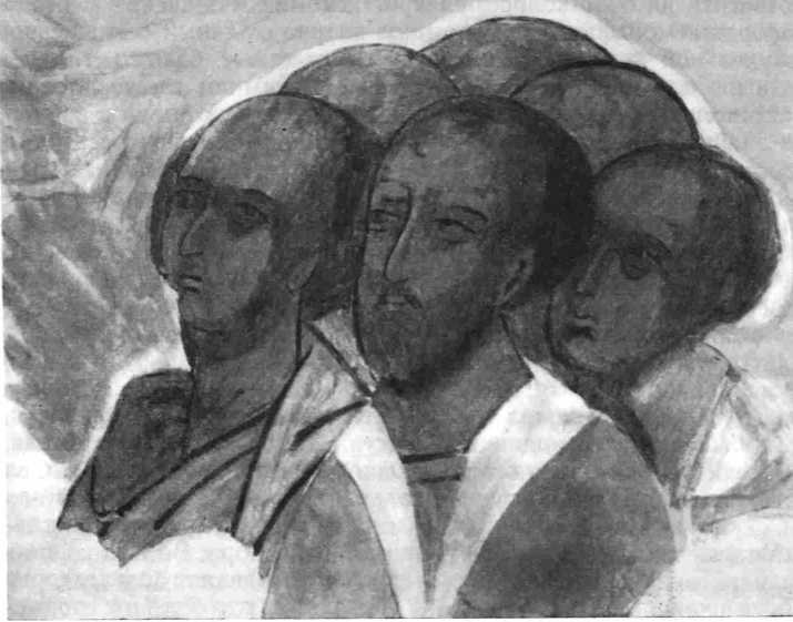 Рис. 7. Дионисии. «Фрязины» (фрагмент фрески «Страшный суд»; с копии автора)