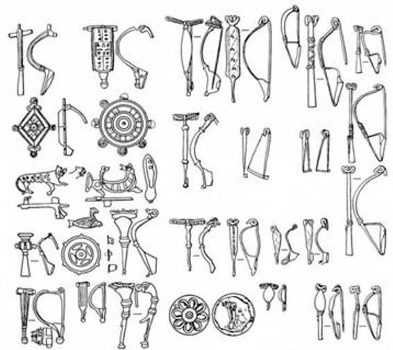 Рис. 35. Фібули I—III ст. н. е.