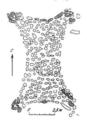 Рис. 1. Фигурная плиточная могила (Забайкалье, Сосновая Падь, могила 113).