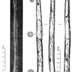 Рис. 54. Флейта палеолитического времени 1 — фотоснимок; 2 — прорисовка.