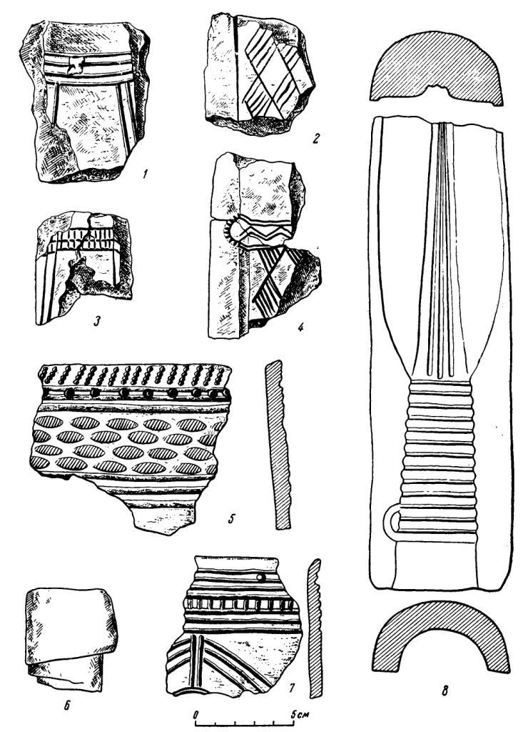 Рис. 48. Литейные формы и керамика с Самусьского поселения. 1—4 — формы для отливки кельтов; 5, 7 — фрагменты керамики; 6 — литейная шишка; 8 — форма для отливки копья.