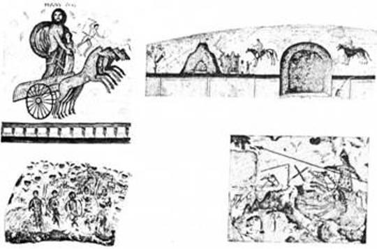 Рис. 36. Фрагменти розпису боспорських склепів І — початку III ст.