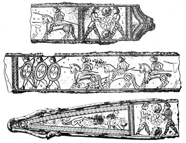 Рис. 22. Ножны меча из Гальштатского могильника (в трех фрагментах)