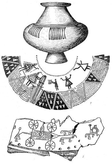 Рис. 13. Урна (1) и фрагмент урны (2) из Эденбурга (Венгрия)