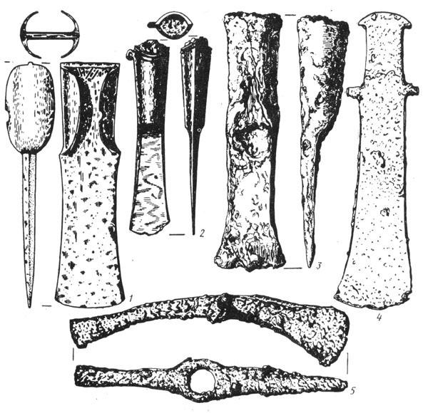 Рис. 17. Топоры из Гальштатского могильника: 1 — пальштаб, 2, 3 — кельты, 4 — тесло, 5 — проушной топор