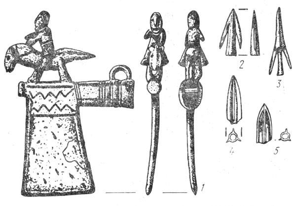 Рис. 18. Ритуальный топорик (1) и наконечники стрел (2—5) из Гальштатского могильника