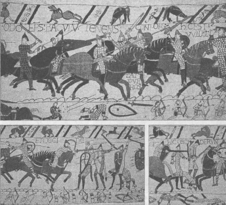 Рис. 11. Битва при Гастингсе, ковер из Байё. Вторая атака норманнов (вверху), слева — Вильгельм Завоеватель; финал битвы (внизу)
