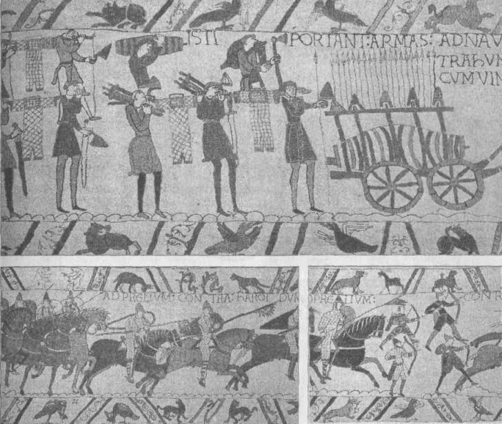 Рис. 10. Битва при Гастингсе, ковер из Байё Высадка норманнов (вверху); начальный этап битвы (внизу)