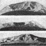 Рис. 8. Микрофотографии следов изнашивания рабочих кромок кремневых (верх и центр, поздний палеолит, увеличение в 12 раз) и обсидианового (низ, эпоха бронзы, увеличение в 15 раз) концевых скребков.