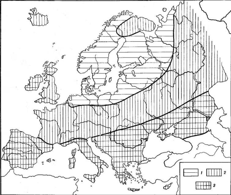 Рис. 2. Географические вариации цвета волос на территории Европы: 1 — меньше 50% темных волос (оттенки 27,4—8 по шкале Э. Фишера); 2— 30—80% темных волос; 3 — больше 80% темных волос