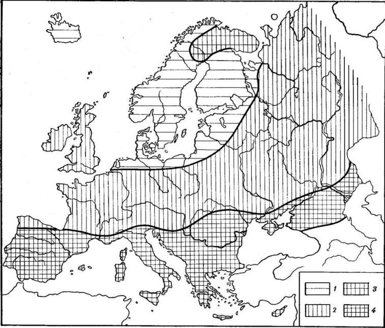 Рис. 3. Географические вариации цвета глаз на территории Европы: 1 — светлые глаза (оттенки 9—12 по шкале В. В. Бунака), встречаются больше, чем в 60% случаев; 2 — 40—60% светлых глаз; 3 — 20—39,9% светлых глаз; 4 — меньше 20% светлых глаз