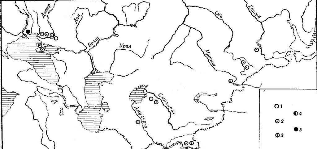 Рис. 23. Географическая изменчивость симотической высоты. Мужские черепа: 1 — 3,8—4,2 мм; 2 — 4,3—4,7 мм; 3 — 4,8—5,2 мм; 4 — 5,3—5,7 мм; 5 — 5,8—6,2 мм