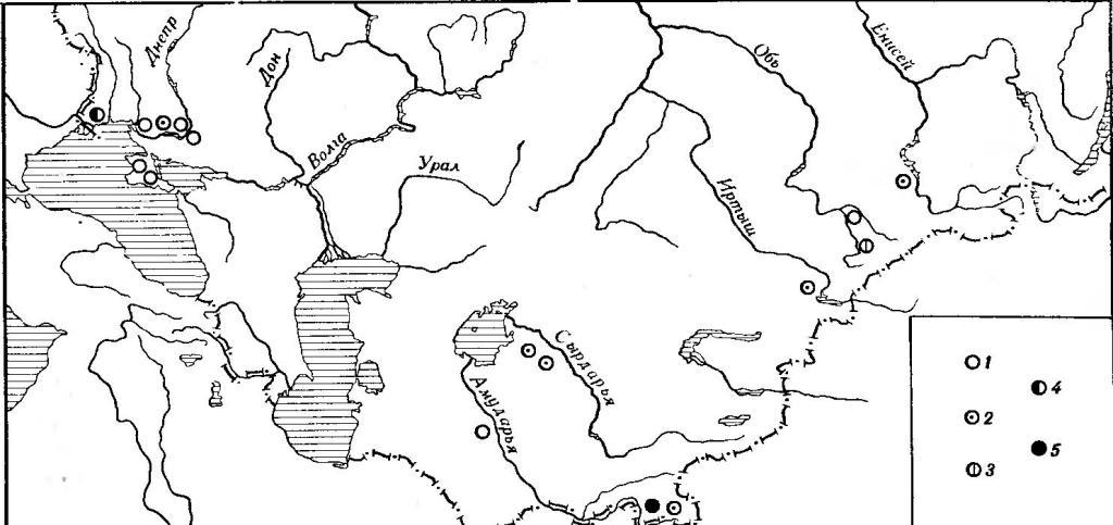 Рис. 24. Географическая изменчивость дакриального указателя. Мужские черепа 1 — 55,4—58,4; 2 — 58,5—61,5; 3 — 61,6—64,6; 4 — 64,7—67,7; 5 — 67,8—71,8