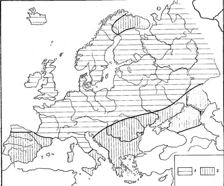 Рис. 1. Географические вариации цвета кожи на территории Европы: 1 — очень светлая кожа (подавляющее преобладание оттенков 1—12 по шкале Ф. Лушана); 2 — несколько более темная кожа (довольно часто встречаются оттенки 13—15)