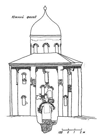 Рис. 6. Церковь Георгия в Старой Ладоге. Южный фасад. Обмер 1926 г. А. Самохвалов. МАХ