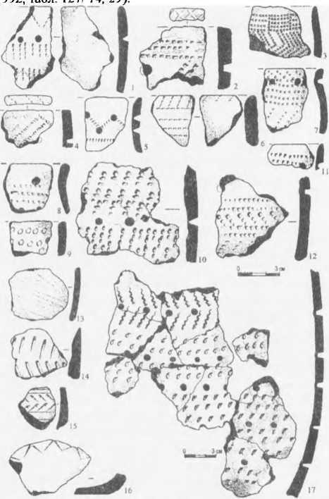 Рис. 2. Керамика стоянки Большой Берчикуль 7. Рисунки выполнены С.Н. Леонтьевым