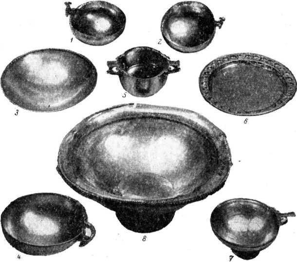 Рис. 1. Металлическая посуда из кургана 28 Жутовского могильника