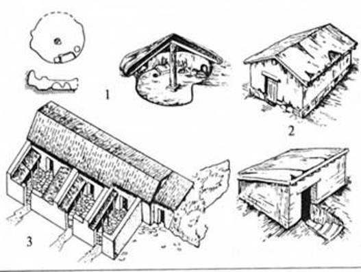 Рис. 8. Типи ранніх житлових споруд античних поселень (за С. Д. Крижицьким): 1 — напівземлянки; 2 — будинки Пантікапею; 3 — блочні сирцево-кам'яні будинки в Кіммеріку