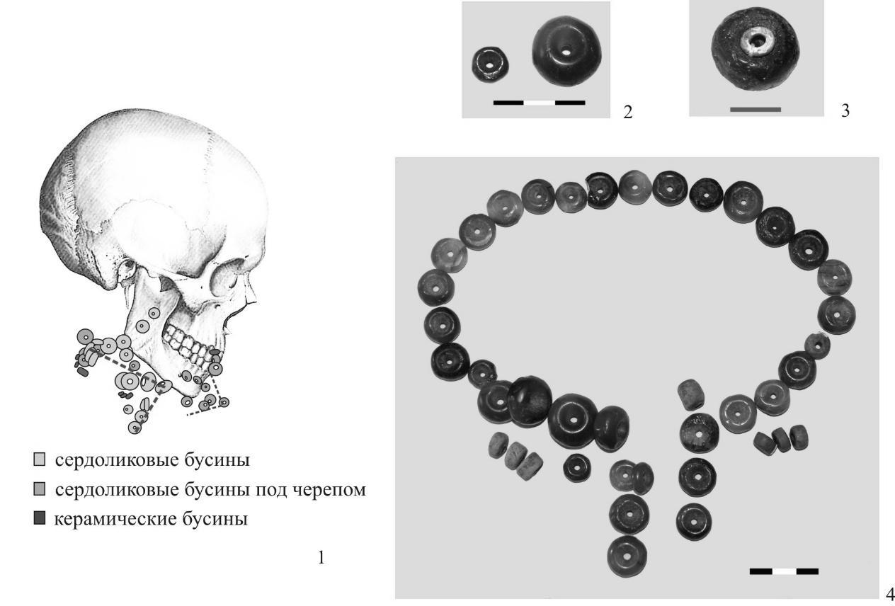 Рис. 2. 1 - фрагмент погребения № 12 (чертеж 1:1); 2, 3 - отдельные элементы сложносоставного украшения; 4 - реконструктивный вариант