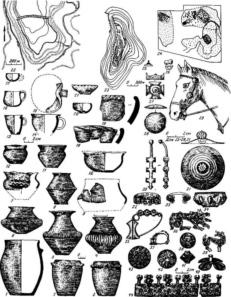 Таблица 4. Планы городищ, жилищ, керамика и вещи из памятников культуры Гава—Голиграды