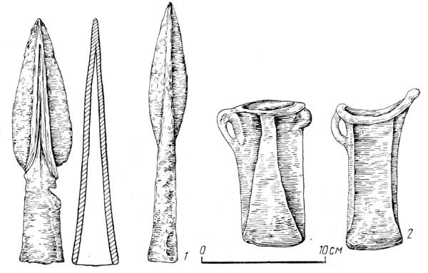 Рис. 134. Бронзовы наконечники копии (1) и кельты (2) Голиградской культуры