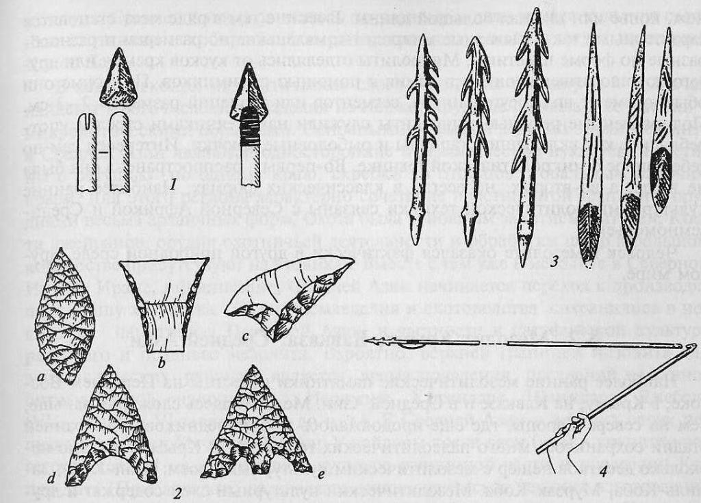 Орудия мезолита: 1 - способы крепления каменных наконечников стрел к деревянному; 2 - типы каменных наконечников стрел  древку: а - листовидный, b, с - грани, d - с выемкой, e - черешковый; 3 - костяные гарпуны, наконечники стрел; 4 - использование копьеметалки