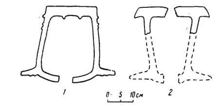 Рис. 27. Очертания глиняных гончарных кругов в разрезе. 1 — этнографический образец; 2 — археологический образец и предполагаемая реконструкция его формы